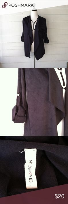 Boutique Open Suedette Cardigan Small Purchased on Posh! Cute suede jacket, size small. JS Boutique Jackets & Coats Blazers