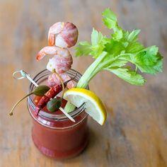 Bloody Mary and shrimp shashlik.