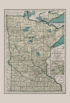 MINNESOTA VINTAGE MAP Vintage Map of by EncorePrintSociety