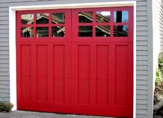 Painted red Clopay Reserve Collection wood carriage house garage door as seen in. - Painted red Clopay Reserve Collection wood carriage house garage door as seen in This Old House mag - Red Garage Door, Cheap Garage Doors, Carriage House Garage Doors, Garage Door Colors, Modern Garage Doors, Garage Door Decor, Garage Door Makeover, Wood Garage Doors, Carriage Doors
