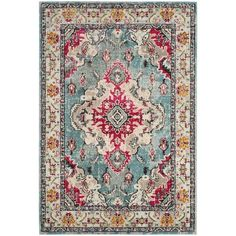 Designed to bring Bohemian-chic flair to a classic Persian style, the distressed multicolor Safavieh Monaco Vintage Bohemian Rug features a high and low loop pile mix of power-loomed, hard-wearing polypropylene yarn to accentuate any room in your home. Décor Boho, Vintage Bohemian, Bohemian Rug, Boho Chic, Light Blue Area Rug, Blue Area Rugs, Blue Rugs, Shabby, Blog Deco