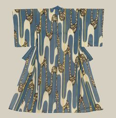 A rinzu chirimen silk kimono featuring a mesmerizing juxtaposition of plain and flower-complex stream motifs.  Late Meiji to mid-Taisho Period  (1900-1920), Japan.  The Kimono Gallery