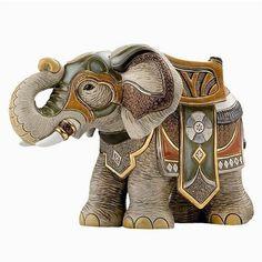 Ceramic Elephant Figurine | De Rosa Collection | Hunting Elephant
