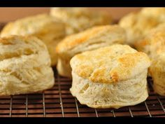 THE BEST BISCUITS! So soft and fluffy and delicious. I use butter *after* done baking to brush on top, instead of the milk egg mixture before, because I like my tops a softer golden. Also cook in cast iron skillet. Flaky Biscuits, Homemade Biscuits, Baking Biscuits, Baking Scones, Buttermilk Biscuits, Biscuit Recipe Video, Donuts, Muffins, How To Make Biscuits