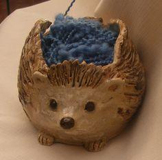 Stoneware Yarn Bowl Big Sculpted  Hedgehog by OrnaArtHeart on Etsy, $45.00