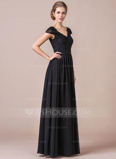 A-Line/Princess V-neck Floor-Length Chiffon Lace Bridesmaid Dress (007056567)