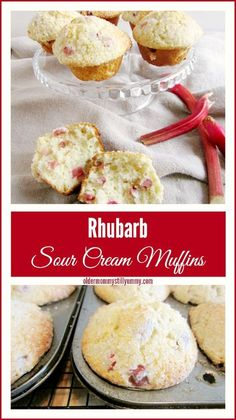 Rhubarb Sour Cream Muffins - Its Rhubarb Season And These Delicious Muffins Are Perfect For Breakfast Or A Snack Muffin Recipes, Baking Recipes, Dessert Recipes, Dessert Salads, Rhubarb Desserts, Rhubarb Cookies, Rhubarb Bread, Rhubarb Kuchen Bars, Rhubarb Pudding Cake
