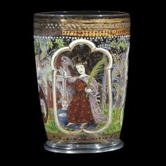 The Behaim Beaker - Medieval Glass: Venice - Corning Museum of Glass Murano Glass, Venetian Glass, Antique Glass, Vases, Corning Museum Of Glass, Early Middle Ages, Historical Artifacts, In Vino Veritas, Drinking Glass