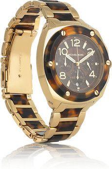 michael kors stainless steel and tortoiseshell watch