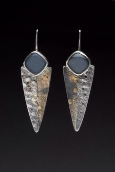 Moonscape shield earrings. 14k gold, sterling silver and moonstone. Hammered by Wendy