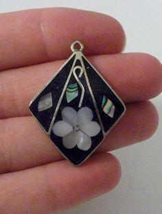 Vintage Alpaca Mexico Mother of Pearl Pendant by onetime on Etsy, $3.00