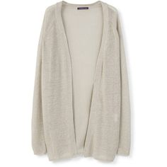 Violeta BY MANGO Long Linen Cardigan ($70) ❤ liked on Polyvore featuring tops, cardigans, side slit top, long cardigan, long sleeve cardigan, long cable knit cardigan and long linen cardigan