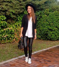 White t-shirt+black pants with leather look+white sneakers+ black blazer+black handbag+black hat+black choker+blue wath. Fall Casual-Chic Outfit 2016