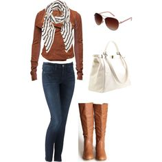 idea for my striped scarf, pair with short camel jacket, clark boots, a white tee, and jeans