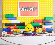 Lego Theme Party Ideas, What I love about Legos is that they are so bright and colorful. When decorating for a party, just think of bold primary colors, black, and white. Lego Party Favors, Lego Themed Party, Lego Birthday Party, Boy Birthday Parties, Birthday Party Decorations, Birthday Ideas, Lego Parties, Birthday Table, 5th Birthday