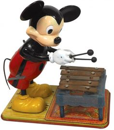 Toy, Mickey Mouse Xylophone windup, Marx, plastic & metal. Excellent working condition. : Lot 94.   via liveauctioneers.com