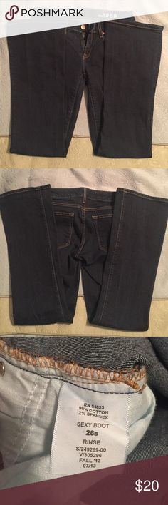 GAP Sexy Boot Jeans GAP Sexy Boot Jeans. No distressing. EXCELLENT used condition. Size 26 Short. Dark blue. Worn only a few times. Smoke-free home. GAP Jeans Boot Cut