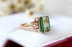 Green Tourmaline - Engagement Ring (3.8 Carat Green Tourmaline, 0.06 Carat Diamond, and 14k Rose Gold)