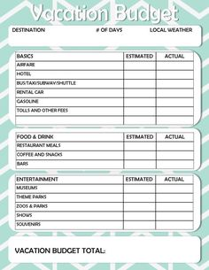 Download a free Travel Budget Worksheet for Excel to help you plan ...