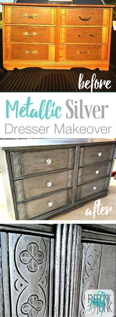 My GORGEOUS Metallic Silver Dresser Makeover. Here's how to paint furniture with metallic paint. Metallic Furniture Paint Ideas by by Refunk My Junk