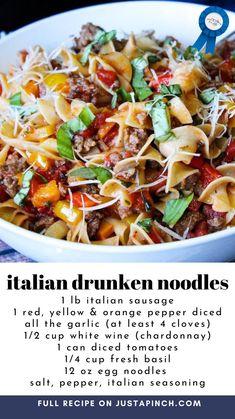 Casserole Recipes, Pasta Recipes, Dinner Recipes, Cooking Recipes, Healthy Recipes, Italian Dishes, Italian Recipes, Great Recipes, Favorite Recipes