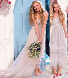 "Beautiful simple wedding dress Amanda Siefried wore in movie ""Mama Mia"" set in Greece"