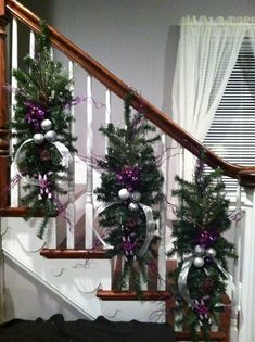 Kelly S Christmas Banister Christmas Christmas Stairs Purple Christmas Decorations, Christmas Staircase Decor, Christmas Swags, Christmas Centerpieces, Christmas Home, Christmas Tables, Coastal Christmas, Christmas Ideas, Christmas Crafts