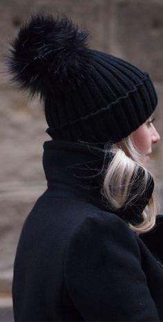 bobble-hat - Black Veil Wool Beanie Hat
