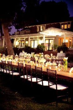 backyard dinner romantic lighting