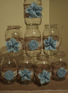 Baby Boy Shower Rustic Wedding Baby Boy Mason Jar Wedding Shabby Chic Wedding Decorations Jars not Included Light Blue Wedding baby shower Deco Baby Shower, Baby Shower Vintage, Shower Bebe, Shabby Chic Baby Shower, Baby Shower Themes, Baby Shower Gifts, Shower Ideas, Boy Baby Showers, Burlap Baby Showers