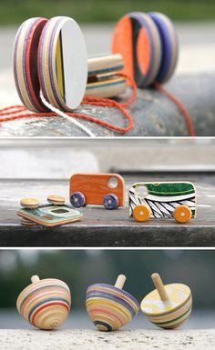 toys made of old skateboards - art