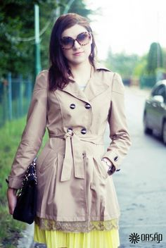 Women's Fashion Clothing Lace Paneled Double-breasted A-line Coat - OASAP.com