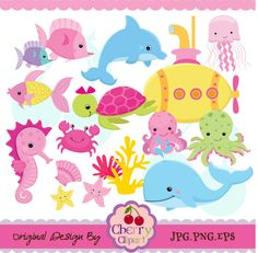 Submarine And Sea Creatures for girls set-Personal and Commercial Use-paper crafts,card making,scrapbooking,web design. $5.00, via Etsy.