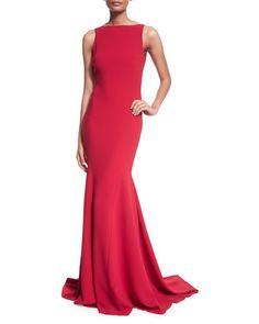Theia Sleeveless V-Back Mermaid Gown