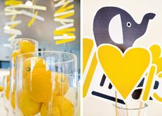 Mod Elephant Baby Shower in Yellow & Gray Free Printables (Including Invitations)