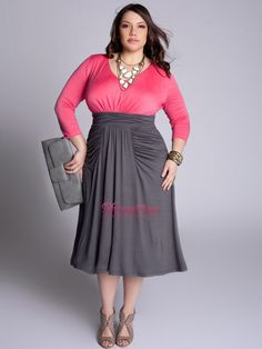 Plus Size V-Neck A-Line Pink and Silver Chiffon Knee-Length Long Sleeves Mother of Bride Dress