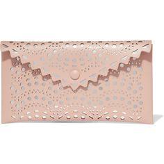 Alaïa Laser-cut leather pouch (51.925 RUB) via Polyvore featuring bags, handbags, alaia, real leather purses, leather bags, laser-cut handbags, pink leather purse и leather handbags