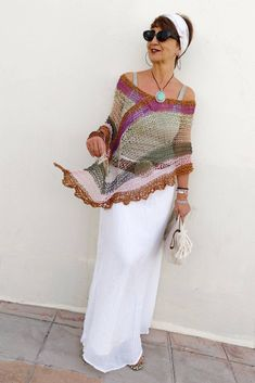 Summer boho poncho vegan poncho for women hippie chic knit poncho multicolored bohemian poncho women knit poncho Hippie Chic, Boho Chic, Bohemian Mode, Bohemian Chic Fashion, Hippie Style, Poncho Au Crochet, Poncho Knitting Patterns, Style Bobo Chic, Böhmisches Outfit