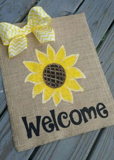 Hey, I found this really awesome Etsy listing at https://www.etsy.com/listing/238599706/sunflower-burlap-garden-flag-welcome