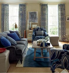 Blue Living Room Inspiration From Calico Corners Neutral Sofa Accent Pillows Ds And Fun Chairs