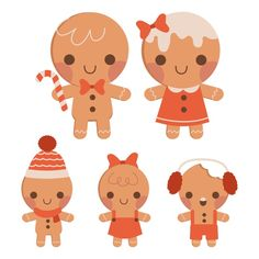 Premium Vector | The collection of cute gingerbread family in flat vector style.