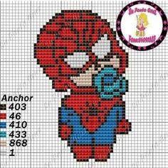 Baby Spiderman x-stitch Hand Embroidery Art, Cross Stitch Embroidery, Cross Stitch Designs, Cross Stitch Patterns, Baby Spiderman, Free Cross Stitch Charts, Pixel Art Templates, Pixel Pattern, Iron Beads