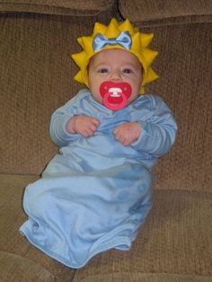 Infant Halloween costume, Maggie Simpson :)