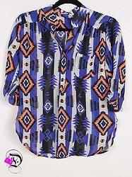 Blue/Neon Orange Aztec 3/4 Sleeve Top $35.99