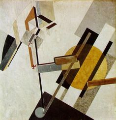 El Lissitzky, Proun 19D, Gesso, oil, paper, and cardboard on plywood, 97.5 x 97.2cm, 1922(?)