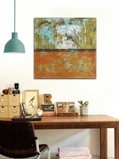 Original Abstract painting  Brown striped van RonaldHunter op Etsy, $299.00