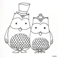 cute bride and groom owls