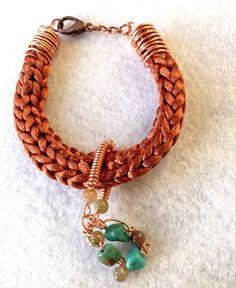 Bronze satin french knitted boho gemstone by BeadedDelightsByStef