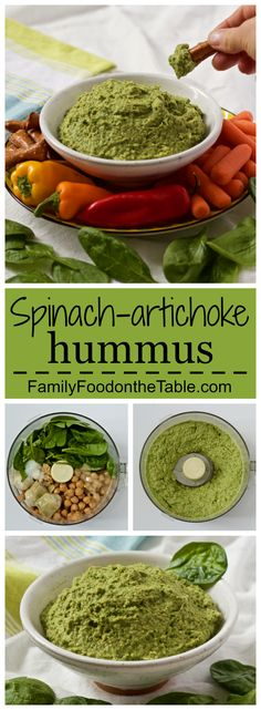 Spinach artichoke hummus - light and creamy! A great appetizer dip or spread for sandwiches and wraps | FamilyFoodontheTable.com