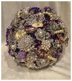 Purple Brooch Bouquet. DEPOSIT on Purple Plum by NatalieKlestov